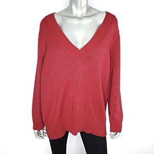 Relativity Womens Metallic Sweater Plus Size 2X